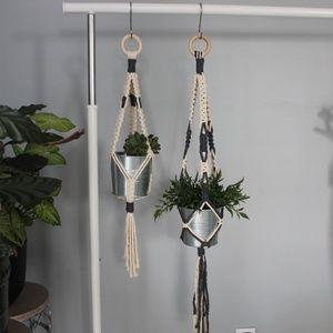 Two Macrame Plant Hangers- Grey / tan